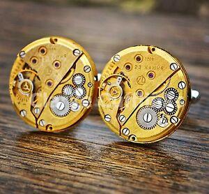 Gold Watch Movement Cufflinks Steampunk Vintage Wedding Groom Mens Gift Retro