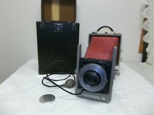 "Antique Burke & James 5x7"" Wooden View Camera w/Extension Rail Lens & OG Case"