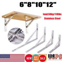 """2 Heavy Duty Stainless Steel 6"""" 8"""" 10"""" 12"""" Countertop Support Brackets L Shelf"""