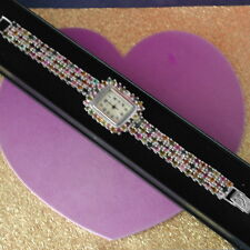 18.30CT. NATURAL AAA MULTI COLOR TOURMALINE STERLING SILVER 925 WATCH 7.5 IN BOX