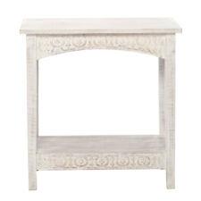 Hamptons Wood Carved 61cm Side Table/desk W/ Shelf Home Room Furniture Decor WHT