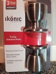 Brushed nickel door handle sets(Ikonic tulip Entrance Knobs / 3 year warranty)