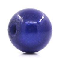 100 Dunkelblau Rund Mirakel Acryl Spacer Kunststoffperlen Beads Kugeln 8mm