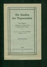 Les sources de la dégénérescence Dr G. de Bunge 1910 exposé ooo Bâle