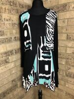 CALESSA Patchwork Asymmetrical Hem Tunic Top Black & Turquoise Women's Sz XL