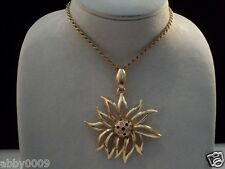 Signed Swan Swarovski Gold Plated Gorgeous Flower Necklace Pendant