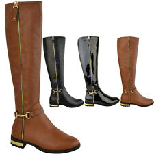 Womens Ladies Flat Stretch Knee High Riding Boots Grip Sole Winter Shoes Size