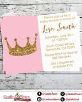 Gold Glitter Pink Girl Crown Girl - Personalized Baby Shower Invitations PDF JPG