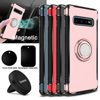 For Samsung Galaxy S10/S9 Plus/Note 9 Ring Holder Stand Case+Magnetic Vent Mount