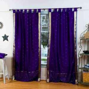 Purple  Tab Top  Sheer Sari Curtain / Drape / Panel  - Piece