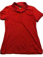 GREG NORMAN Womens Play Dry Golf Shirt Short Sleeves SIZE S/P Red Checkered Trim