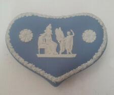 Wedgwood Blue Jasperware Heart Lidded Trinket Box