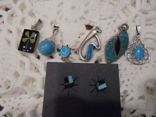 STERLING SILVER TURQUOISE  MIXED JEWELRY EARRINGS PENDANT  LOT    WEAR RESELL