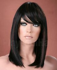 Ladies Long Straight Side Bangs Fringe off Black With Copper Highlights Wig