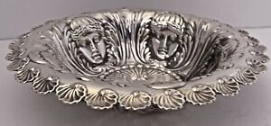 WHITING NEO-GREC STERLING SILVER BOWL FIVE FIGURAL LARGE LADY FACES C. 1880-90