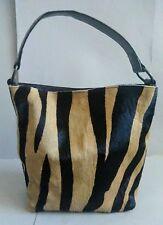 Maurizio Taiuti Handcrafted Italy Calf Hair Zebra Print Leather Tote Handbag