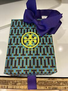 NEW Tory burch gift box Green Blue Color With Purple Ribbon