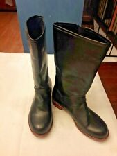 Women's Knee High Boots Square Toe Black Buckle Faux Fur Lined. Size 42. NEW