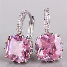 Luxury 18K White Gold Plated Princess Pink Cube Zircon Crystal Hoop Earring