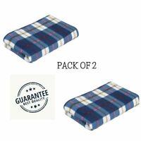 Large Soft Warm Tartan Check Sofa Throw Bed Blanket Fleece Pack Of 2 Light Blue