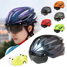 Adjustable Cycling Helmet Bicycle MTB Road Helmet with Detachable Goggles Visor