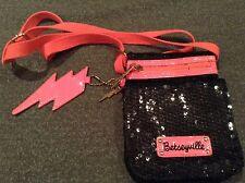 Betsy Johnson Betseyville Black Hot Pink Cross Body Sequin Purse Handbag Bag EUC