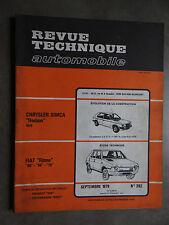 REVUE TECHNIQUE AUTOMOBILE RTA CHRYSLER SIMCA HORIZON FIAT RITMO 1979