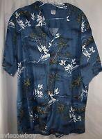 Palmwave Hawaii Hawaiian Islands Surfer Palm Aloha Camp Lounge Shirt Men's 2XL