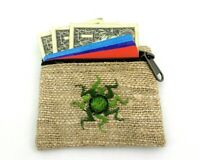 Hemp Coin Purse Green Sun Natural Bag Pouch Credit Card ID Holder Vegan Wallet