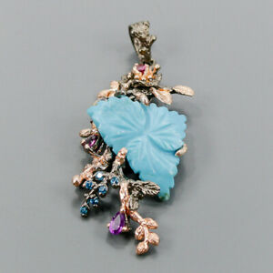 Vintage Turquoise Pendant Silver 925 Sterling  /NP13711