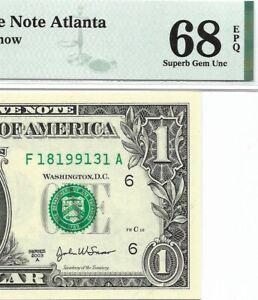 2003A $1 ATLANTA FRN, PMG SUPERB GEM UNCIRCULATED 68 EPQ BANKNOTE