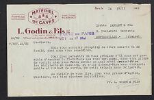 """PARIS (XII°) MATERIEL pour CAVISTE """"L. GODIN & Fils"""" en 1948"""