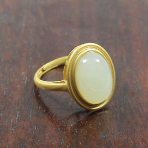 Certified Natural Grade Hetian White Jade Gems 925 Silver  Ring a1807