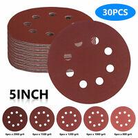 "5"" 8 Hole Hook Loop Sanding Discs Assorted Orbital Sander Round Sandpaper Sheets"