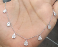 STEAL DEAL!1.00CT GENUINE CLUSTER ROUND DIAMOND LADIES NECKLACE 14K  GOLD.