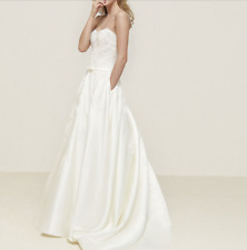 New White/Ivory A Line Lace Wedding Dress Sweetheart Strapless Chapel Train