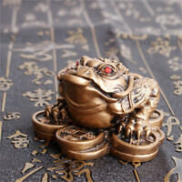 Chinese Feng Shui Lucky Three Legged Money Toad Fortune Frog Xmas Decor Bronze