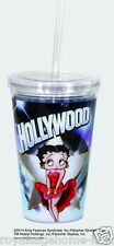 16236 Betty Boop Hollywood Insulated travel Cup w/straw Cartoon tv Red Dress