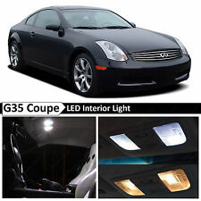 2003-2007 G35 Coupe White Interior + License Plate LED Lights Package Kit