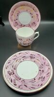Antique 19th Century English Pink Lustre Handless Tea Cup , Saucer & Plate set