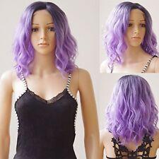 16 Short BOB Wave U Part Lace Front Wigs Ombre Black mix Purple Heat Resistant