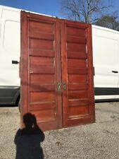 Mar 310 Pair antique cherry raise panel pocket doors 67.5 x 86