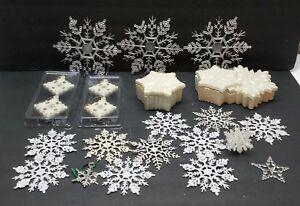 Vintage Christmas Tree Ornaments Decoration Snowflake Plastic Ceramic Snow Flake