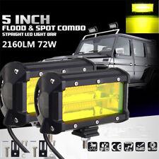 2Pcs 5 Inch 72W 24 LED Flood Car Offroad Pickup Work Light Bar Driving Fog Lamp