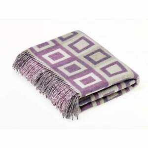 Bronte By Abraham Moon | Double Square Lilac Throw 100% Merino Lambswool Blanket