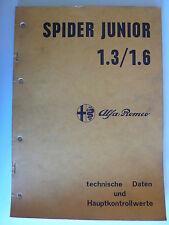 ALFA ROMEO SPIDER JUNIOR 1.3/1.6 dati tecnici e valori di controllo principale, 12.1973