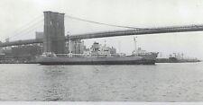 1971 Wire Photo Pakistani freighter Padma sailing under Brooklyn Bridge in NYC