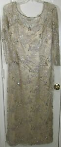 Vtg Victoria Royal Beaded Sequined Gold Overlay Ball Gown Dress, 16, Hong Kong
