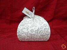 Boite à gâteau mariage ou baptême blanc/argenté petite taille x25
