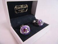 Penrose of London Designer Triumph Cufflinks Lilac In Laid Enamel RRP £115 #CL52